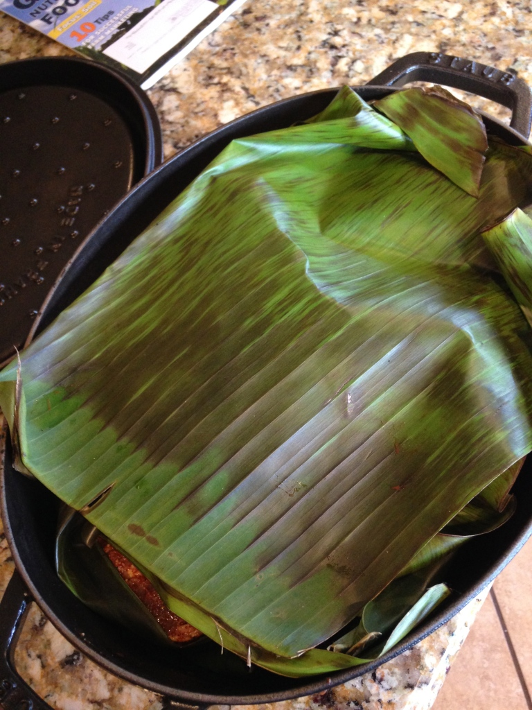 Banana Leaves warmed over the stove